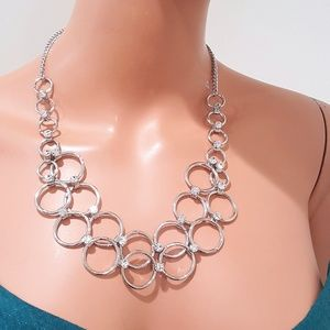 Stephan & Co Silver Plated Rhinestone Necklace